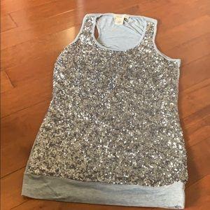 Silver sequin sparkly tank top